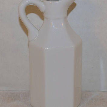 Xcell China White Cruet Vintage White Milk Porcelain Pitcher with Stopper Hexagonal Bottle White Milk Cruet Farmhouse Kitchen Bottle