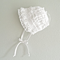 Newborn Baby Hat Christening Photo Props Vintage White Lace Bonnet Baby Summer Baptismal Accessories