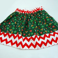 Christmas/Holiday Chevron Skirt Boutique Clothing size 12m, 18m, 2t, 3t, 4t, 5, 6,and 7