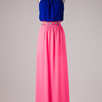 Neon Aztec Maxi - Pink and Royal