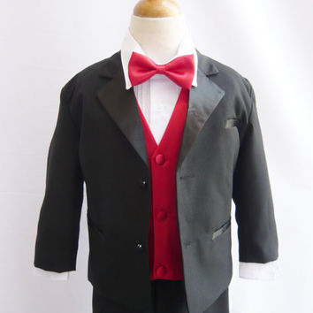 Formal Boy Tuxedo with Bow Tie (5 Pieces in 1 Set) - Limited Time Offer (Size S, M, L, XL only)