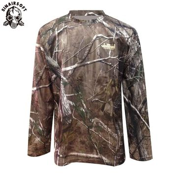 SINAIRSOFT Spring Tactical Camouflage Long Sleeve T Shirts Men Military Quick Dry O Neck Combat T Shirt Multicam Camo Army Shirt