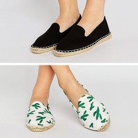 ASOS JEANIE Wide Fit Two Pack Espadrilles at asos.com