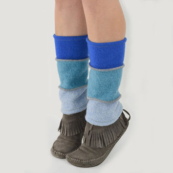 Grunge Leg Warmers in Shades of Blue - Blue Ombre - Upcycled Wool Sweaters