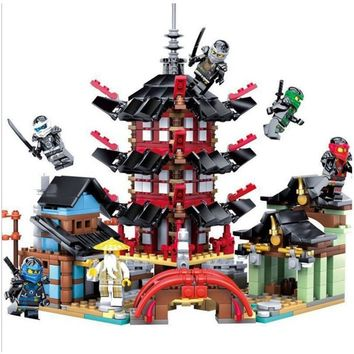 Educational Movie Figures Sets Ninjagoed Dragon Motorcycle Building Blocks City Temple Toys Compatible with Legoed City Toys