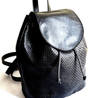 Black Leather Backpack Purse, Embossed Crocodile Leather, Womens Backpacks, Handmade Leather Bag