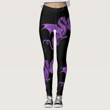 Purple Vintage Dragon Black Leggings