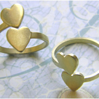 Raw Brass Heart Adjustable Ring Stamping - 2 pc.