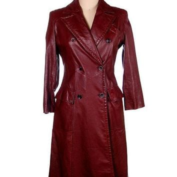 Vintage Etienne Aigner Leather Trench Coat 1970s Size 38 Bust Sz 14