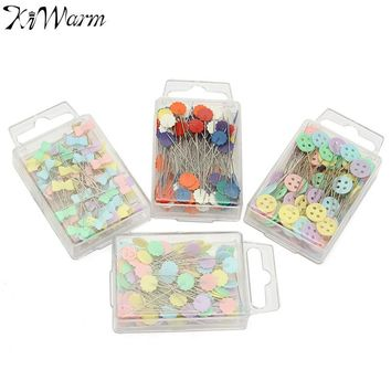 100Pcs/box Mixed Colors Patchwork Pins Flower Button Head Pins with Box Home DIY Arts Crafts Quilting Tool Sewing Accessories