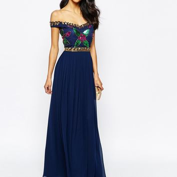 Virgos Lounge Sarah Grace Embellished Bardot Neck Maxi Dress With Pleated Skirt