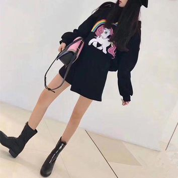 PEAPON Moschino' Women Casual Fashion Cute Cartoon Rainbow Pony Print Long Sleeve Hooded Sweater Irregular Short Skirt Set Two-Piece