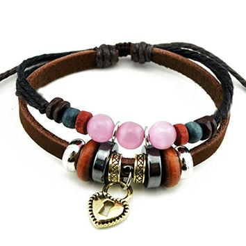 Real Spark Girls Double Strands Charms Heart Pendant Charms Colorful Beads Leather Wrap Bracelet