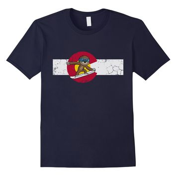 Snowboarding Sloth Colorado Flag Shirt