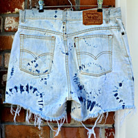 Vintage High-Waisted Levis Tie Dye Bleached Distressed Jean Shorts-- 34 inch waist