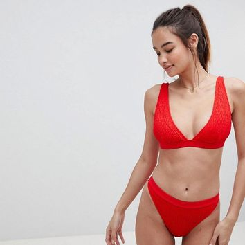 South Beach Crinkle Plunge Bikini at asos.com