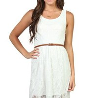 Lace High Low Dress with Keyhole Back and Faux Leather Belt