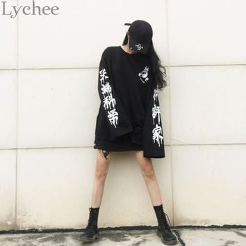 Lychee Harajuku Punk Gothic Women Streetwear Cutting Edge Science Letter Print Hoodies Long Sleeve Tracksuit