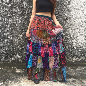 Patchwork Maxi Skirt Bandeau Dress Elephant paisley Hippie Vegan Boho chic bohemian style Beach Festival Clothing unique gift for girl women