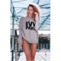 hot sale beyonce s ivy park letters sweater grey