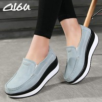 O16U Spring Women Flats Platform Loafers Shoes Female Suede Leather Casual Shoes Slip