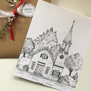 Original pen and ink, Church drawing, black and white print, Nursery artwork,  tree drawing, original landscape sketch, whimsical print