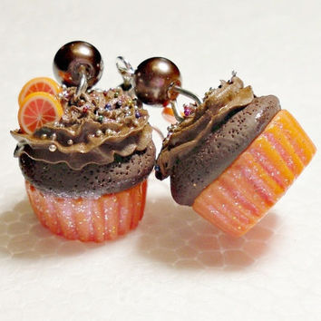 Chocolate Orange Cupcake Earrings. Polymer Clay.