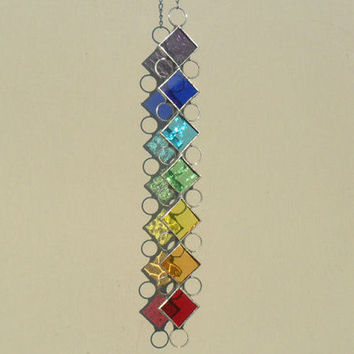Chakra Suncatcher, Stained Glass Suncatcher