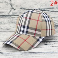 Burberry Fashion New Colorful Plaid Sunscreen Leisure Women Men Hat Cap