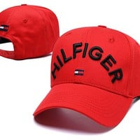 TOMMY HILFIGER New Summer Women Men Embroidery Sports Sun Hat Baseball Cap Hat Red
