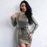 """Shining"" gold metallic bodycon mini dress"