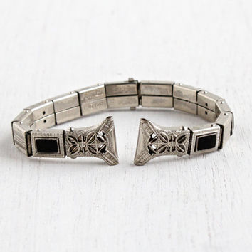 Antique Black Enamel Art Deco Watch Band - Vintage 12k White Gold Filled Stretch Pat. 1926 Signed Peggy Lou S&C Jewelry / Flower Filigree