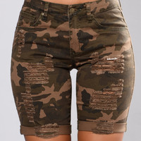 Callie Distressed Shorts - Camo
