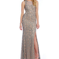 Jodi Kristopher Embroidered Sequin Lace Long Dress | Dillards