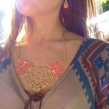Coral And Gold Bib Necklace and Coral Earrings Bib Statement Necklace Tribal Necklace Bib necklace Orange Necklace Coral Necklace