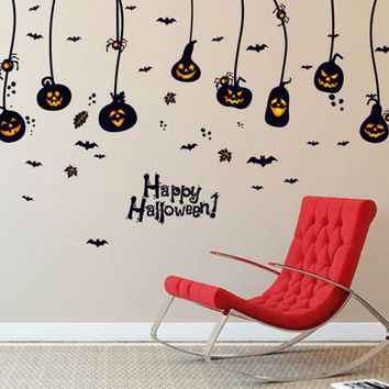 Halloween Pumpkins Wall Stickers Decals Hanging Lights Lamps Adhesive Wallpaper Mural Kids Festival Store Party DIY Decor P15