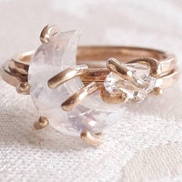 Crescent Moon and Star Stacking Ring Set - Moonstone Ring - Herkimer Diamond Ring
