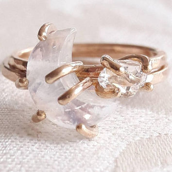 9638e909c Crescent Moon and Star Stacking Ring Set - Celestial Rings - Moo. Awesome  jewelry ...