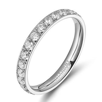 3mm Titanium Eternity Rings Cubic Zirconia Wedding Engagement Band | FREE ENGRAVING