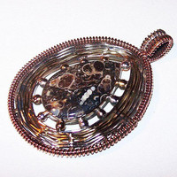 """Turritella Agate Pendant Signed 925 Sterling Silver Copper Wire 2 5/8"""" NOS Vintage"""