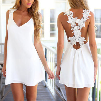 Women Sexy V Neck Backless Lace Crochet Chiffon Dress Summer Beach Strap Sleeveless Mini Short Vestidos Black White Party Dress
