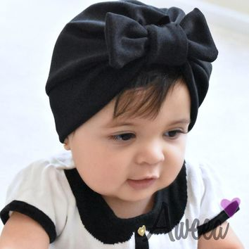 Fashion Cotton Girls Boys Soft Turban Bowknot Cap Beanie Hat Muslim India Hat Bohemian Hat Baby Photography Hat Accessories