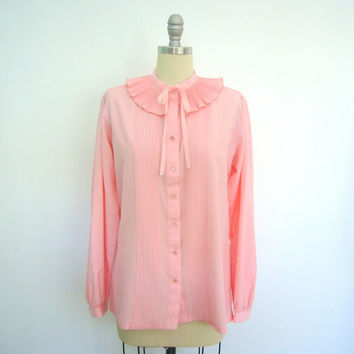 Vintage Blouse / Accordion Pleated Collar / Victorian Style / Pastel Pink / 1980s / Size Large L XL