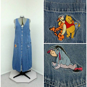 Vintage 90s Plus Size Disney Pooh Denim Jumper Dress, Winnie The Pooh Eeyore, Denim Dress, Overall Dress, Skirt Overalls, Overall Jumper