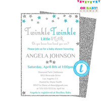 Teal and Grey Baby Shower, Twinkle Twinkle Little Star Baby Shower Invitation, Editable Template, Teal Gray Silver, Boy Girl Printable STGST