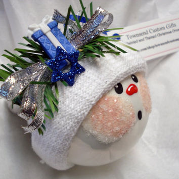 Hanukkah Snowman Hand Painted Glass Ornament - Snowball face - Themed with a Present and the Jewish Star - Personalized