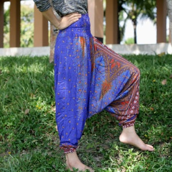 Blue Thai fisherman pants palazzo pants boho pant harem pants/elephant pant/yoga pant/Aladdin Pants/hippie clothes/bohemian pant/baggy pants