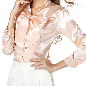 2016 Autumn Korean Stand Collar Puff Sleeve Single-breasted Bowknot Chiffon Shirt Plus Size