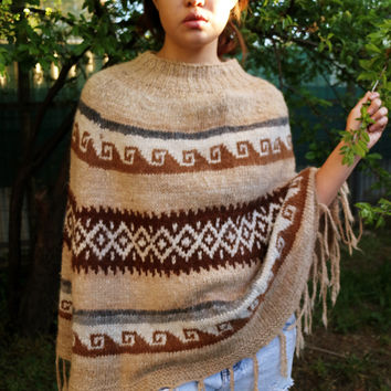 Take me to Peru Alpaca Wool Poncho Stripe V Neck