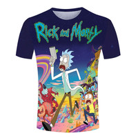 3D Printing Rick And Morty T-Shirts Interesting Casual Man Tees Tops Anime Cool Clothing Teenage Sports Short Sleeves Male Shirt